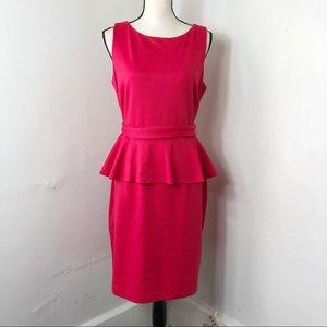 Isaac Mizrahi Pink Belted Sleeveless Peplum Dress
